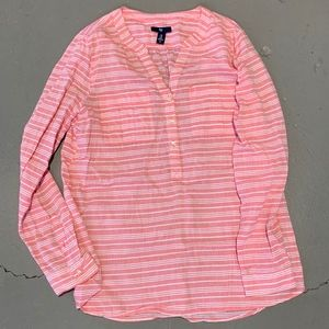 GAP Pink and White Stripe Button Up Top